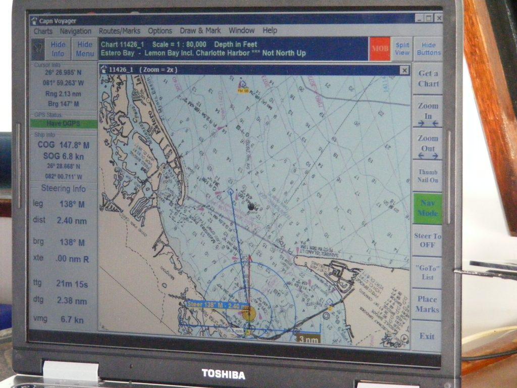 Navigation computer on the bridge of M/V Vagabond.
