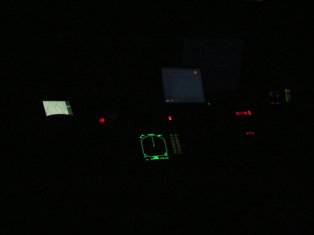 The bridge of M/V Vagabond at night.