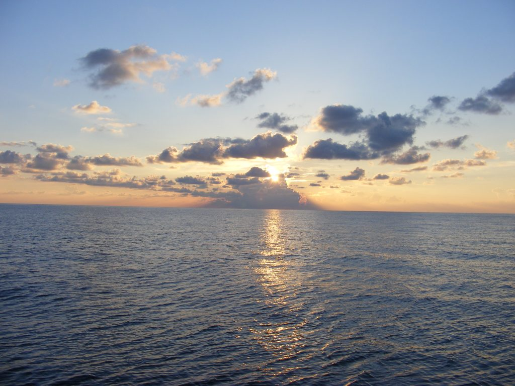 Sunset in the Gulf of Mexico, north of Cuba.