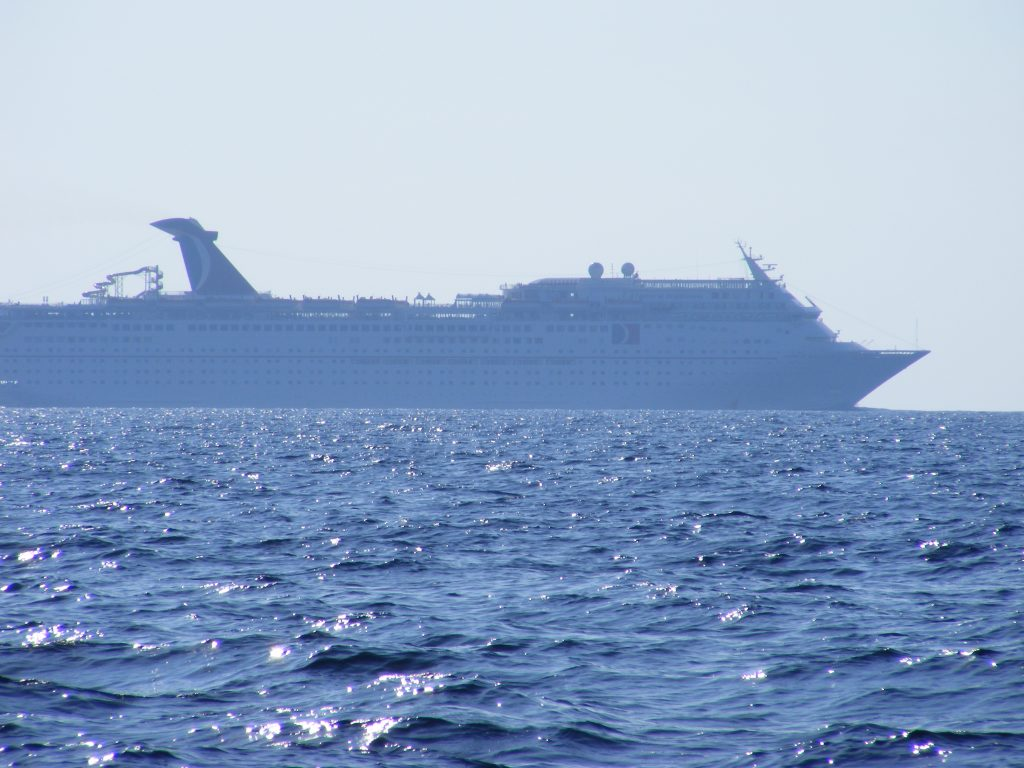 The same Carnival cruise ship after passing behind us.
