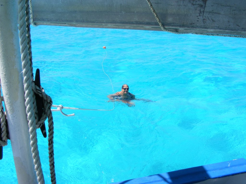 Nancy swimming behind M/V Vagabond.