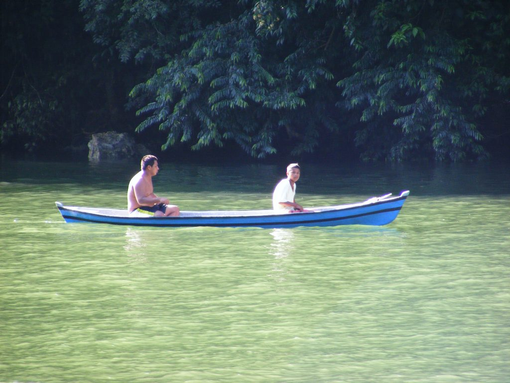 Canoe on the Rio Dulce.