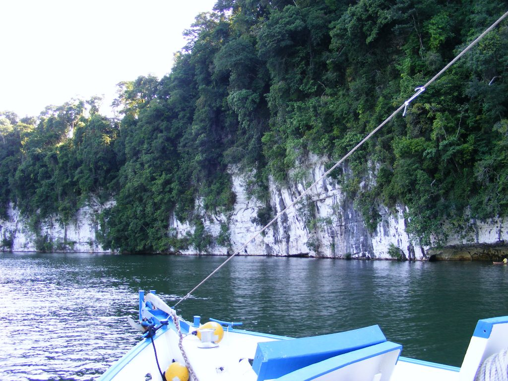 Limestone cliffs along the Rio Dulce