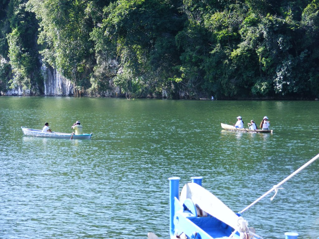 Canoes along the Canyon of the Rio Dulce.